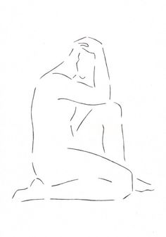 Original pen and ink sketch of a male nude figure. Minimalist line art illustration. Black and white drawing.