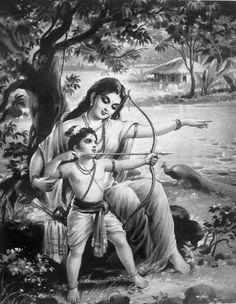 Kanwamuni- Shakuntala कण्वमुनी - शकुंतला Loosening of apparel वल्कल शिथिलीकरण First Sight . Lord Rama Images, Drawing People Faces, Just Magic, India Painting, Indian Art Paintings, God Pictures, Hindu Art, Gods And Goddesses, Deities