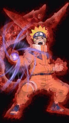 Young Naruto with his Tailed-Beast cloak and Rasengan. #naruto