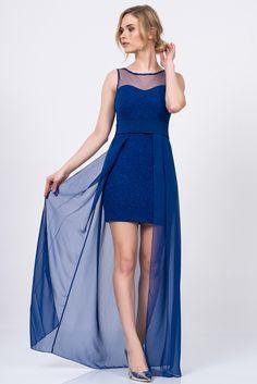 Kalp Yaka Mini Elbise Üstü Şifon Saks Abiye 5927-1004 ironi