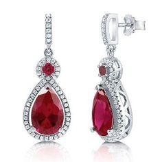Sterling Silver Pear Cut Simulated Ruby Cubic Zirconia CZ Halo Fashion Dangle Drop Earrings available at joyfulcrown.com