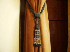 Pair - Green Decorative handmade Tiebacks / Tassel / Curtain Holdback