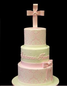 You searched for christening - Pink Cake Box Custom Cakes & Pretty Cakes, Beautiful Cakes, Comunion Cakes, Damask Cake, Pink Damask, Pastries Images, Confirmation Cakes, Baptism Cakes, Baptism Party