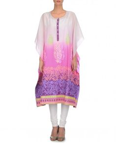Ombre pink kaftan tunic with floral hand painted designs all over. Three quarter sleeves. Scoop neckline with half button placket. Wash Care: Dry clean onlyChuridar leggings worn by the model is only for styling purposeDisclaimer: This is a relaxed fit garment. The sizing mentioned below specifies the measurement of the garment