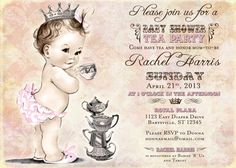 Tea Party Baby Shower Invitation For Girl - Princess - Crown - Pink - DIY Printable via Etsy