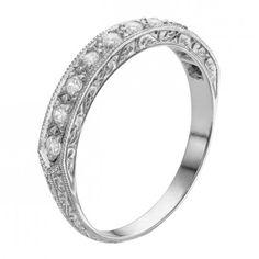 Platinum engraved diamond wedding ring