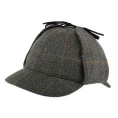 Casquette Sherlock Holmes en tweed gris par Christys' London La tradition Anglaise sur Hatshowrrom.com #chapeau #casquette
