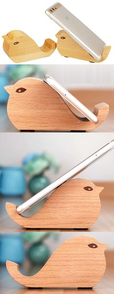 Wooden Bird Shaped Mobile Phone iPad iPhone Holder Stand Dock Mount Business Card Display Stand Holder Office Desk Organizer