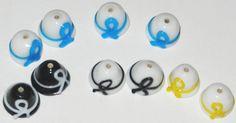 10 Awareness Fine Handmade Lampwork Glass Beads  Hat by jcraft4you