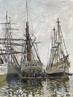 Claude Monet, Barcos en un puerto, 1873. Óleo sobre lienzo, 71.2 x 54 cm. National Gallery of Scotland, Edimburgo, Reino Unido
