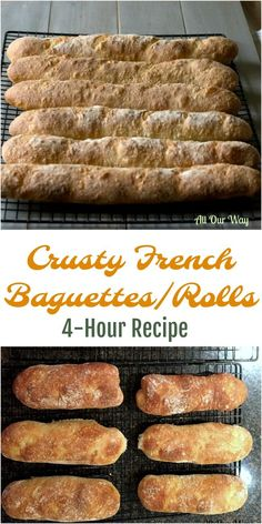 Crusty French Baguettes - 4 Hour recipe, no starter needed. #baguette #French_bread #yeast_rolls #yeast_bread
