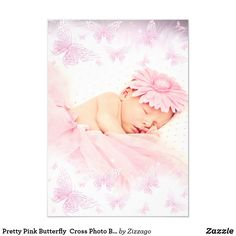 Shop Pink White Sparkle Butterfly Baptism Christening Invitation created by Zizzago.