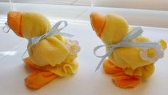 Three Handmade Baby Quackers washcloth Ducks in Yellow........Reduced Price....They are Quacking to go home with You :). $15.75, via Etsy.