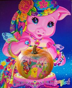 Lisa Frank (pig and pumpkin) Lisa Frank Stickers, Pig Art, 80 Cartoons, Vintage Fisher Price, 90s Childhood, Funny Tattoos, 90s Kids, Funny Art, Colorful Pictures