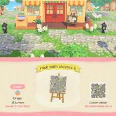 Animal Crossing 3ds, Animal Crossing Town Tune, Animal Crossing Villagers, Animal Crossing Qr Codes Clothes, Animal Crossing Pocket Camp, Rock Path, Motif Acnl, Ac New Leaf, Path Design