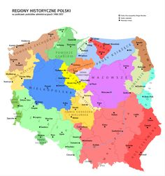 Map of historical regions of Poland European History, Art History, American History, Polish Symbols, Poland Map, Old World Maps, King Of The World, Family Genealogy, Historical Maps
