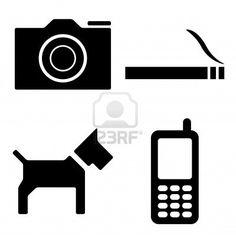 vector dog camera cigarette phone icons Stock Photo - 11519781