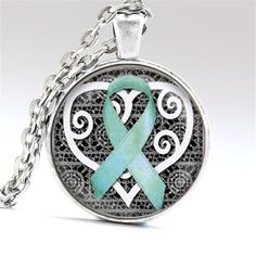 Elegant Ovarian Cancer Awareness Pendant Necklace *Limited Supply* – Dripping Teal