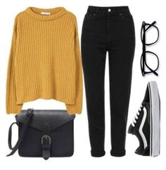 Cute outfits Fashion Look Featuring Forever 21 Sweaters and Topshop Petite Sweaters by Miszkiczka - Hipster Outfits For Teens, Cute Outfits For School, Teen Fashion Outfits, Teenager Outfits, Cute Casual Outfits, Fall Outfits, Womens Fashion, Fashion Ideas, Fashion Trends