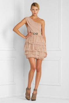 bcbg mesh tiered dress -