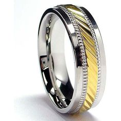 Oliveti Stainless Steel and Goldplated Crystal-cut Band (7.5 mm) - Overstock™ Shopping - Big Discounts on Oliveti Men's Rings