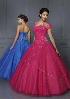 Elegant A-line Strapless Floor-length Quinceanera Dress