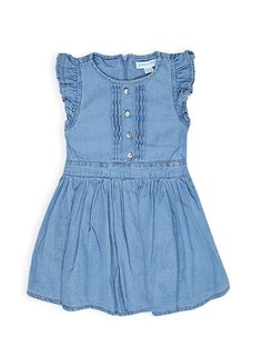 Pumpkin Patch - dresses - ruffle front dress - W4TG80032 - light wash denim - 12-18m to 5