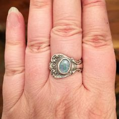 Here's a little sterling spoon ring I made recently.  I added a pretty opal triplet.