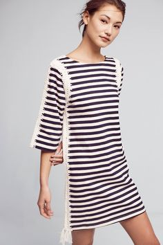 I think I have a thing for stripes/nautical but I want to get out of it. Biggest challenge is I think this dress is too short - I'm 46 - so looking for slightly above the knee - not higher. unless I wear with tights?