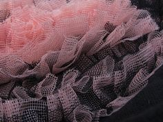 Black with  lightpink tulle heart handmade bag by Vvesna on Etsy, zł120.00