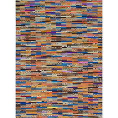 """ECARPETGALLERY Cowhide Patchwork Leather Handmade Blue/Yellow/Red Area Rug Rug Size: 5'6"""" x 7'6"""""""