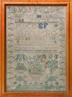 QUAKER NEEDLEWORK SAMPLER WORKED BY ABIGAIL ROBBINS, BORN APRIL 18, 1810, AGED 9 YEARS, 1819