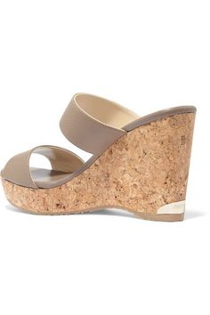 e4ba29d04b64 Jimmy Choo - Parker Textured-leather Wedge Sandals - Taupe Leather Wedge  Sandals
