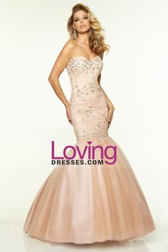 2015  Sweetheart Mermaid Floor-Length Prom Dresses With Applique And Beads Lace&Tulle
