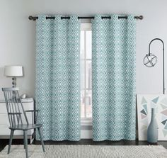 Pair Blue Curtains Ikat Design with Grommets