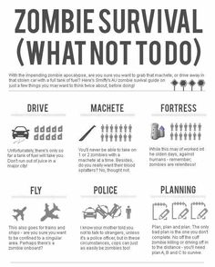 What NOT to do in a Zombie Apocalypse! (INFOGRAPHIC) - More like what not to make an zombie apocalypse info-graphic like. Very plain and the body font is uninteresting. Zombie Survival Guide, Survival Prepping, Survival Skills, Wilderness Survival, Zombies Survival, Survival Hacks, Survival Shelter, Disaster Preparedness, Homestead Survival