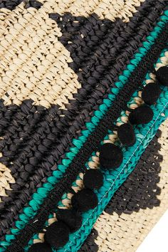 Midnight-blue, cream and turquoise toquilla straw Snap-fastening front flap