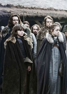 Game of Thrones: Bran Stark, Arya Stark, Jory Cassel and Theon Greyjoy from season 1 episode 1