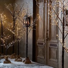 Winter Wonderland Tree, Flocked - Light the entry with the help of these Winter Wonderland trees from Restoration Hardware. Could do a DIY version of this!