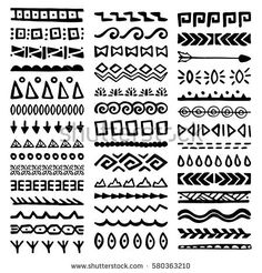 Doodle Patterns 693976623803652333 - Collection of Hand Drawn Borders in Ethnic Style. Tribal Patterns, Doodle Patterns, Zentangle Patterns, Zentangles, Tribal Prints, Mandala Design, Mandala Art, Afrika Tattoos, Maori Tattoos
