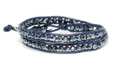 Crystal and Leather Chic Boho Betty Double Wrap Bracelet #BohoBetty #Wrap