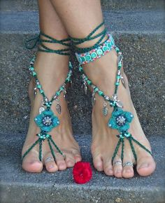 Jade Green BAREFOOT SANDALS Green Wedding beaded crochet sandals LEAF charms foot jewelry Garden Bohemian shoes Green Wedding Fairy shoes
