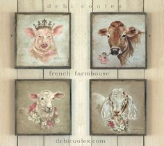 French farmhouse is now available at www.debicoules.com Each piece is framed in aged wood and comes signed. $62