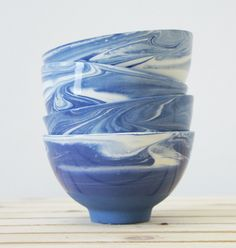 Blue and White Marble Ceramics
