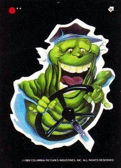 Ghostbusters II Slimer sticker card