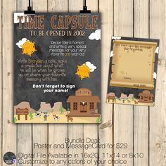Western Time Capsule Sign Matching Notecard Set, Cowboy Birthday Decor, Western…