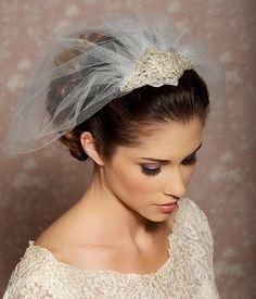 Rhinestone Veil, Crystal Veil, Wedding Veil, Birdcage Veil, Blusher Veil, Tulle Veil, Bridal Veil - Ready to Ship- OLIVIA. $72.00, via Etsy.