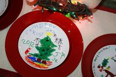 Mom Swim Bike Run: Easy Kid Craft: How to Decorate a Christmas Plate with a Sharpie