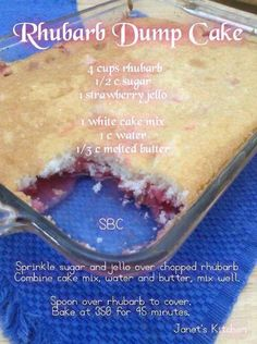 Recipes to Roll over for Rhubarb Recipes Cake Mix, Rhubarb Dump Cakes, Rhubarb Desserts, Dump Cake Recipes, Frosting Recipes, Strawberry Rhubarb Recipes, Strawberry Jello, Jello Cake, White Cake Mixes
