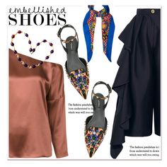 """""""Magic Slippers: Embellished Shoes"""" by paculi ❤ liked on Polyvore featuring Solace, TIBI, Dolce&Gabbana, Yves Saint Laurent and embellishedshoes"""